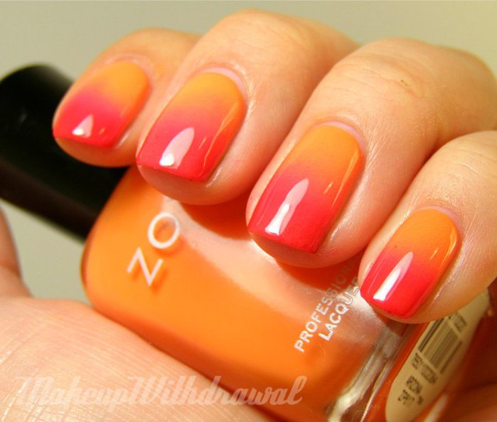накрасить ногти двумя цветами плавно