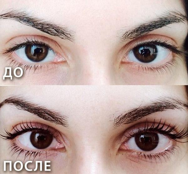 ламинирования ресниц фото до и после