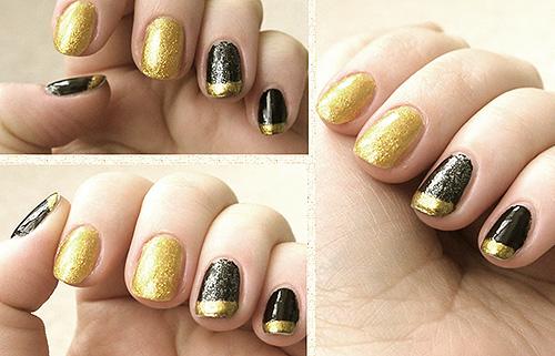 дизайн ногтей черный золотой