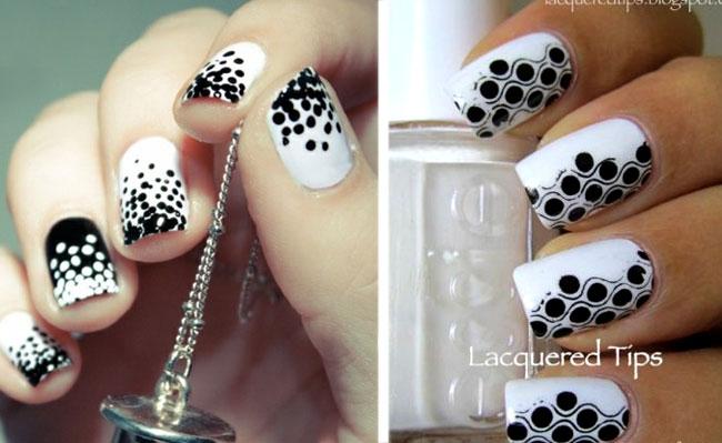 как накрасить ногти черным и белым лаком