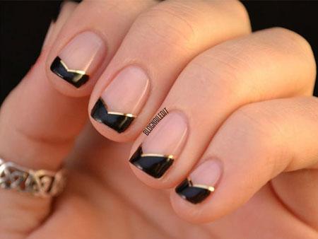 дизайн ногтей черный френч: