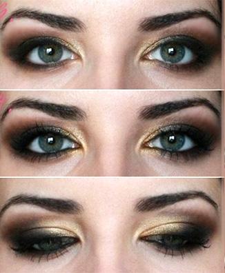 черные тени с золотом
