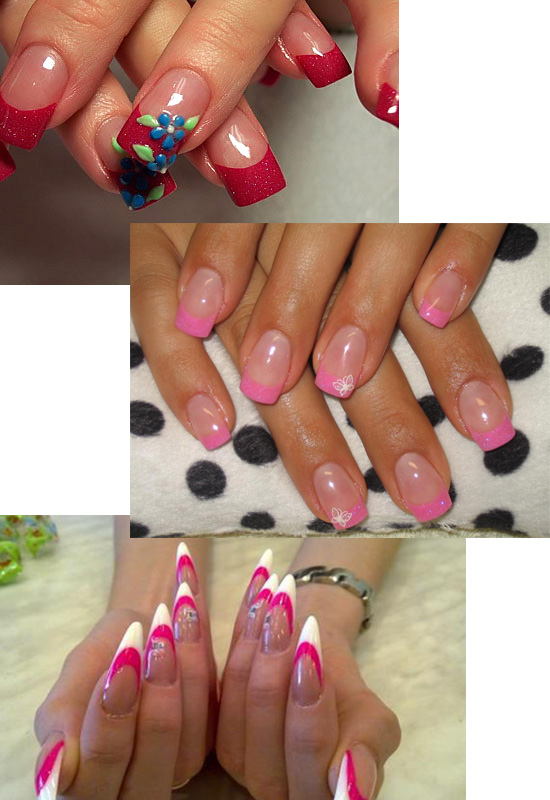Различные френчи на ногтях