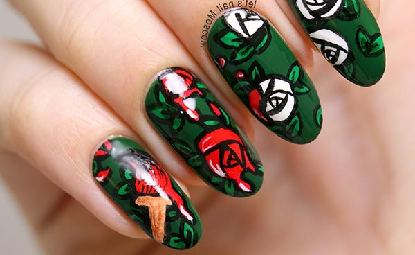 дизайн ногтей розы