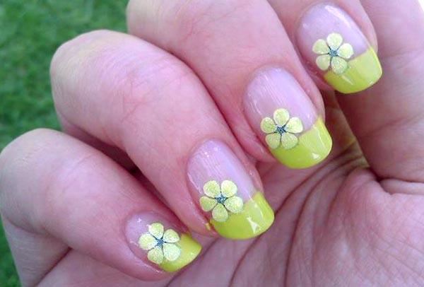 дизайн ногтей френч с цветами