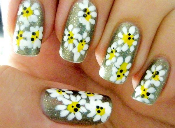 дизайн ногтей цветы ромашки