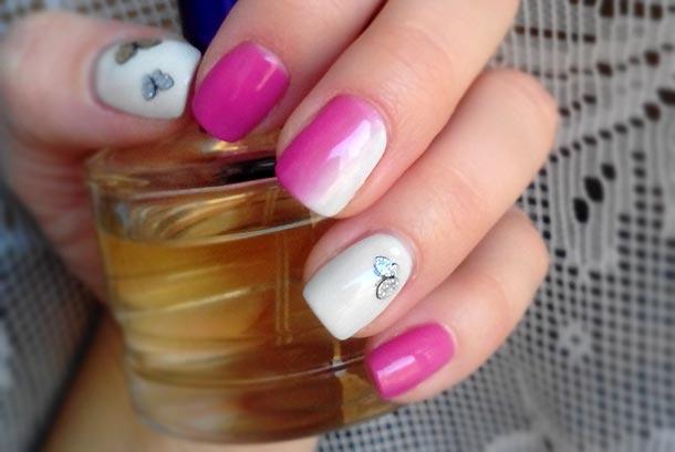 розово белый дизайн ногтей гель лаком cristina
