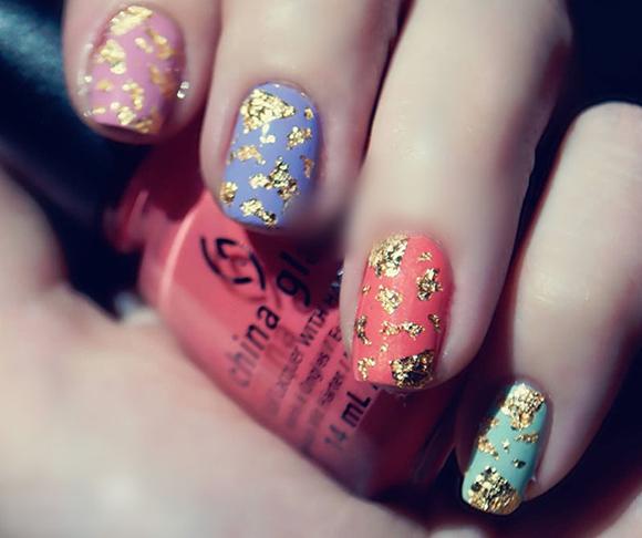 Фольга на ногтях отрывная дизайны