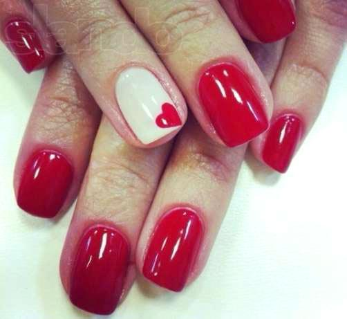 дизайн ногтей гель лаком в розовом цвете сердечко