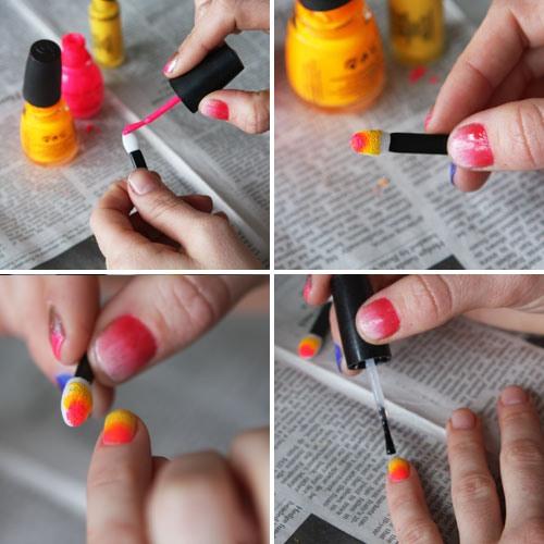 накрасить ногти двумя цветами губкой пошаговое фото