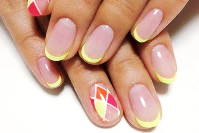 желтый красивый френч короткие ногти