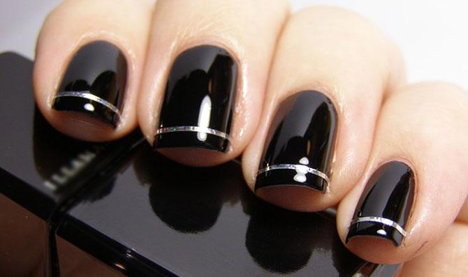 черные ногти френч серебристыми полосками