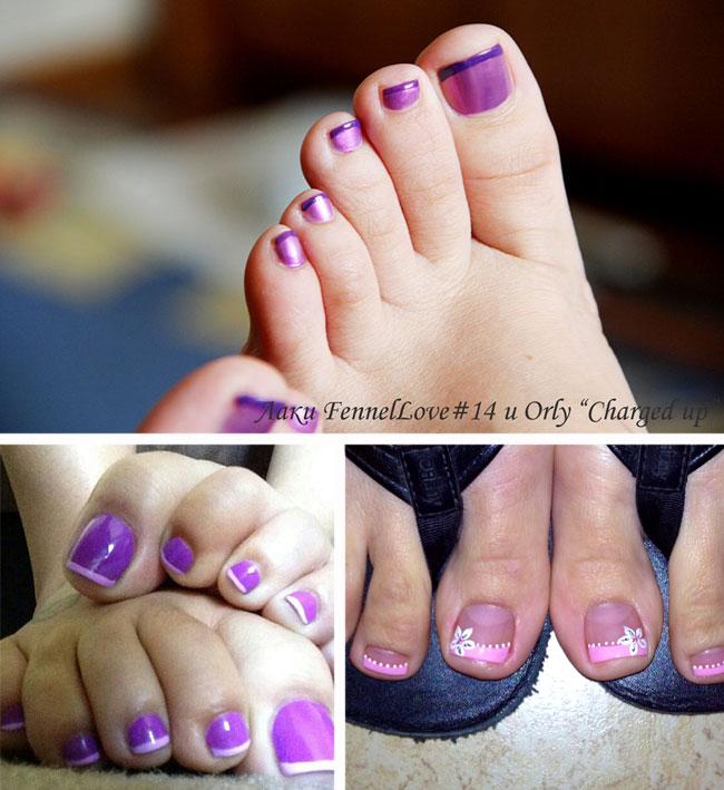 Педикюр фиолетовый лак