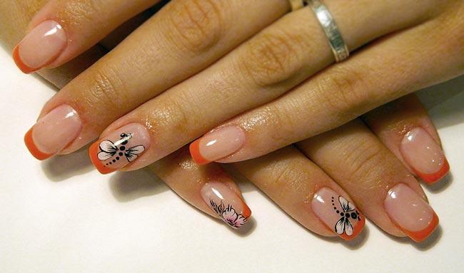 яркий френч на ногтях с рисунком фото