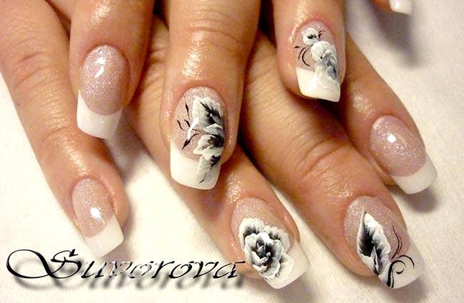 фото френч с рисунком на ногтях