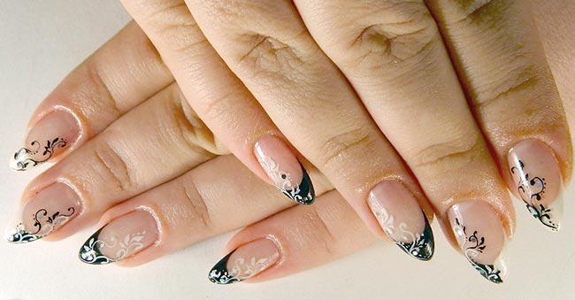 дизайн нарощенных ногтей френч черно-белый
