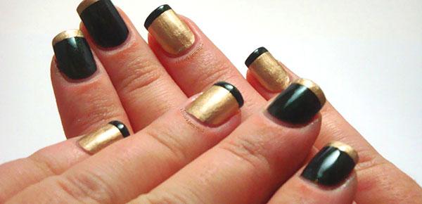 Черный дизайн ногтей с золотом фото