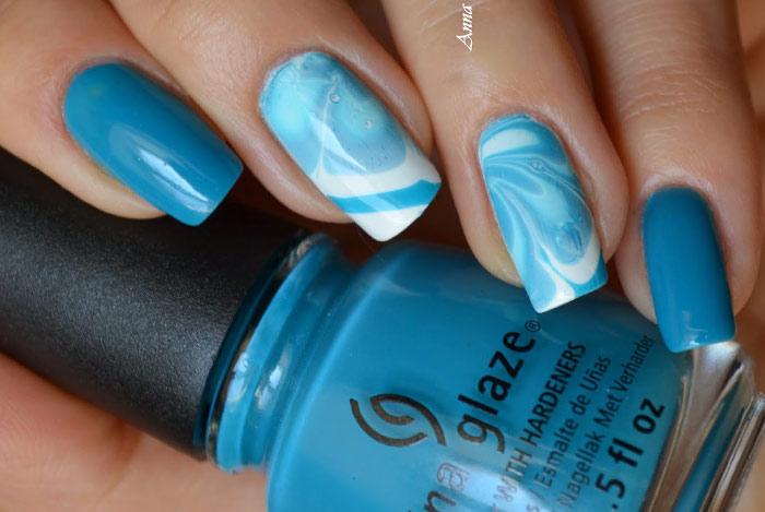 Синий-голубой маникюр