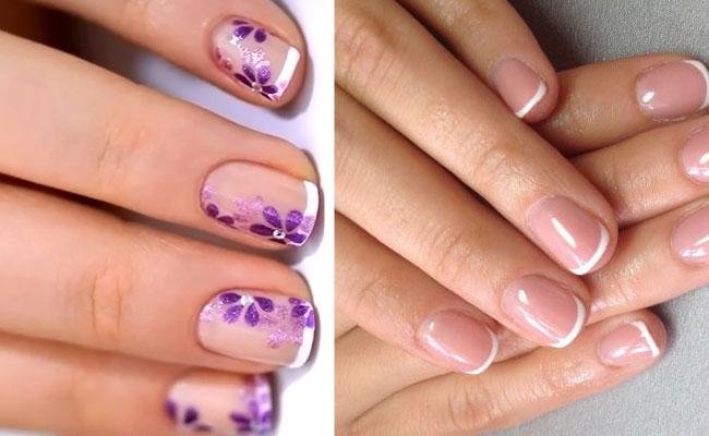 Шеллак на очень короткие ногти дизайн