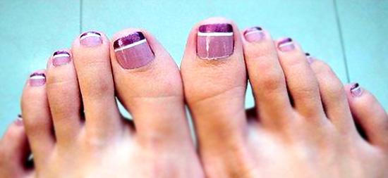 идеи педикюра, цветной френч на ногах