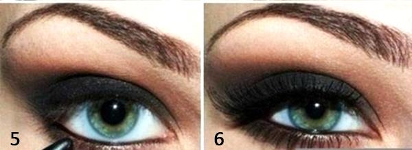 глаза с черными тенями выполненный макияж