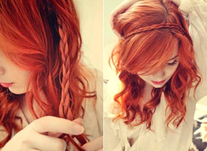 как заплести ободок из волос косичкой, фото