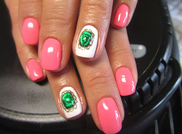 жидкие камни фольгой на ногтях