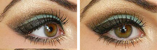 карие глаза зеленые тени с золотом