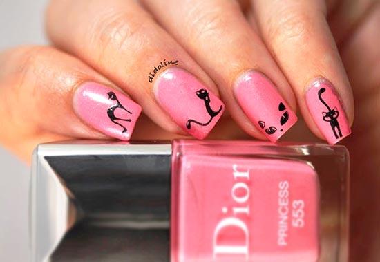 Рисуем на ногтях кошек видео
