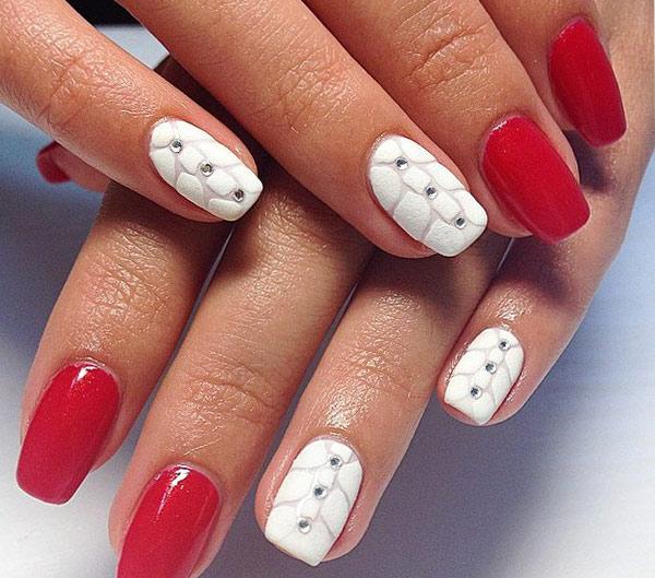 бархатный красный и белый маникюр