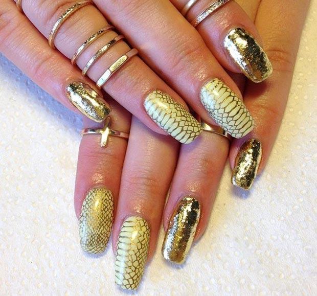 дизайн ногтей с золотым литьем фото