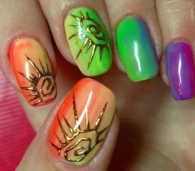 литье солнце на ногтях