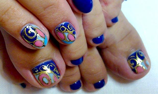 яркий восточный дизайн ногтей с литьем