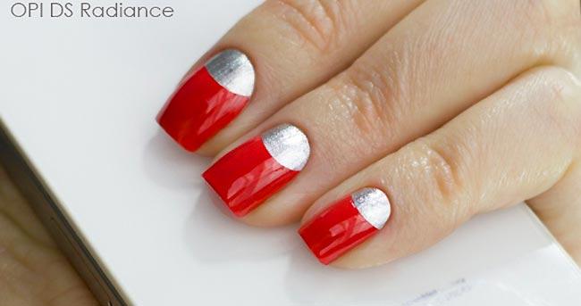 красные ногти серебряные лунки, красный и серебро