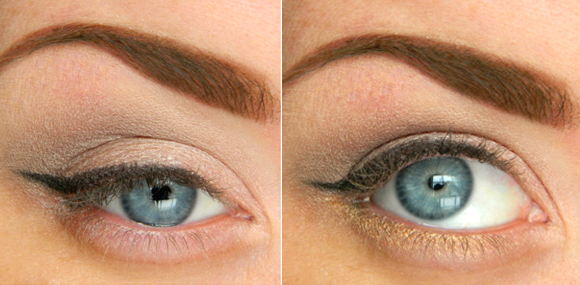 макияж глаз со стрелками и серыми тенями для голубых глаз