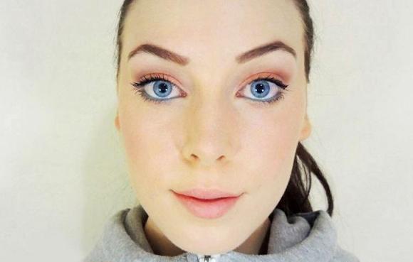 персиковые тени для голубых глаз макияж