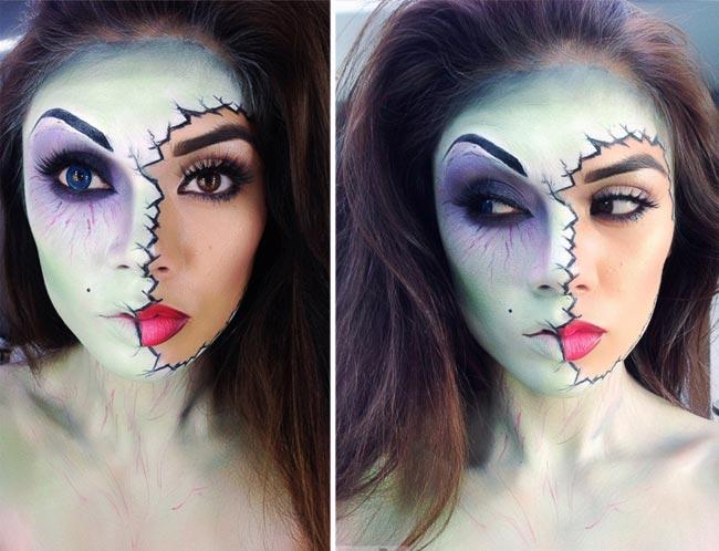 макияж девушка зомби хэллоуин