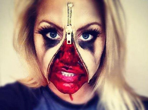 макияж грим с молнией на хэллоуин