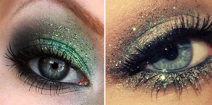 шикарный макияж с блестками на новый год