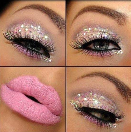 сверкающий красивый макияж глаз и губ на новый год