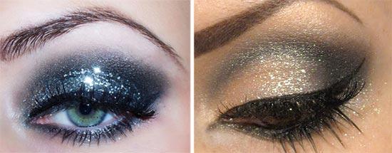 макияж с блестками на новый год