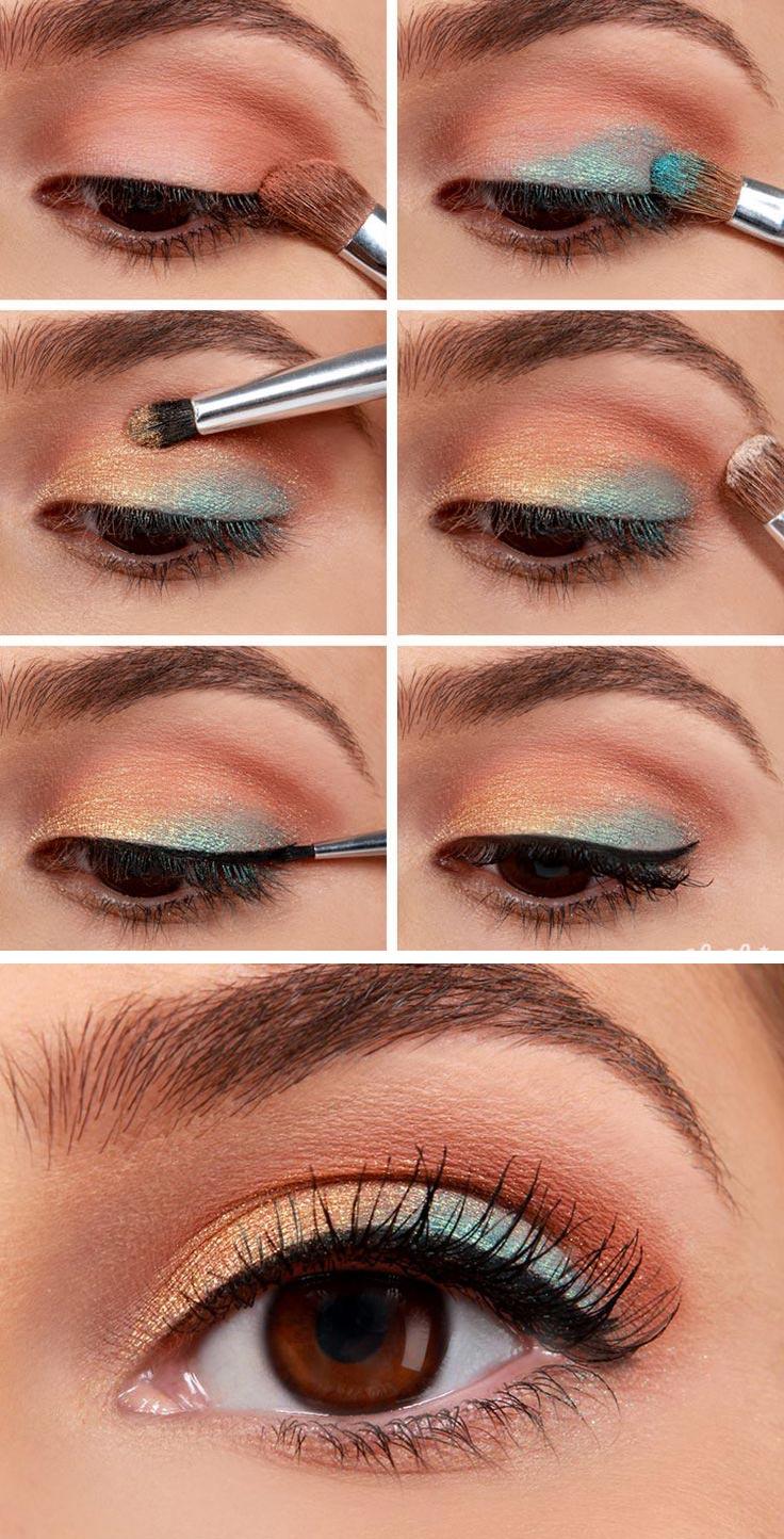 макияж на новый год пошагово бирюзовые синие тени