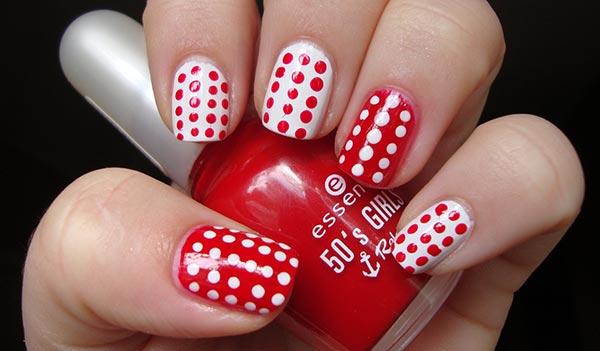 красный дизайн ногтей дотс