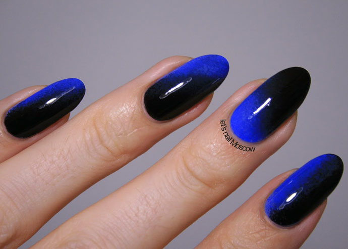 Диагональное омбре на ногтях