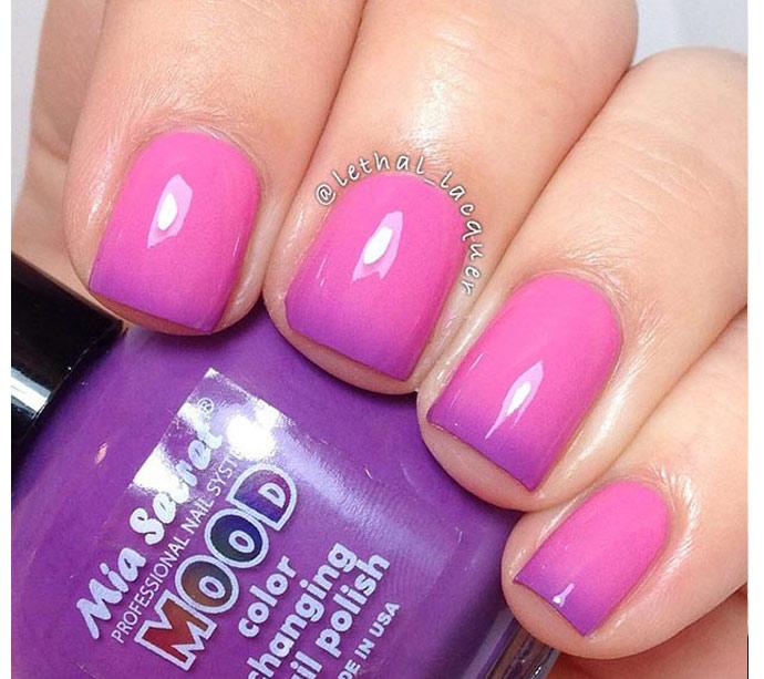 Омбре маникюр розовый и сиреневый цвет