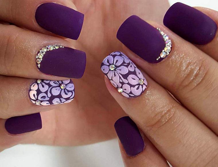Фиолетовый маникюр - 105 фото роскошного дизайна ногтей 75