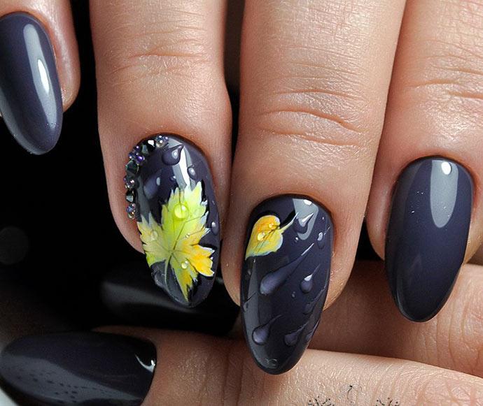 Дизайн ногтей листочки