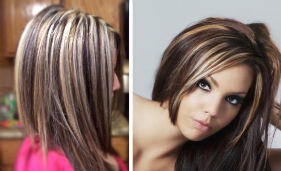 Колорирование волос на темные фото