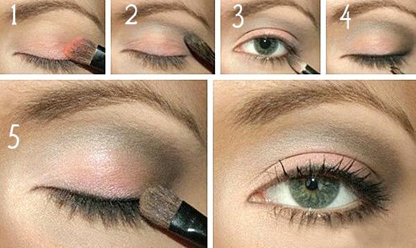 накрасить глаза с нависшим веком, нежный макияж в светлой розовой гамме