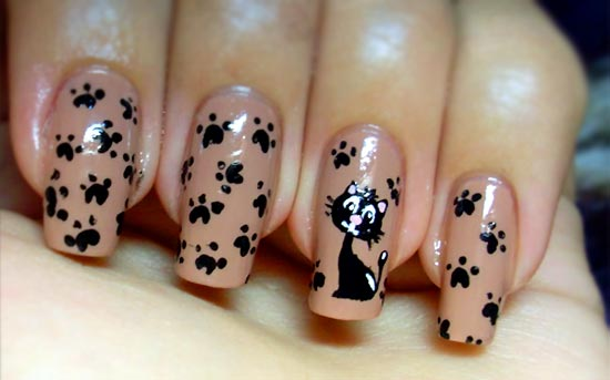 кошки на ногтях рисунок фото